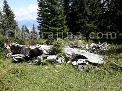 trosky lietadla Li-2 na vrchu Slemä