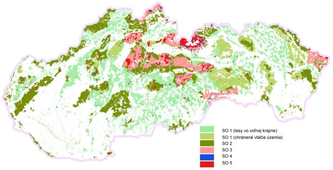 mapa ochrany lesov Slovenska